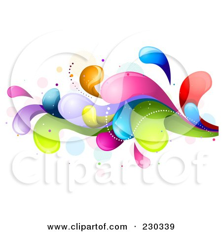 Royalty-Free (RF) Clipart Illustration of a Colorful Rainbow Splash - 10 by BNP Design Studio