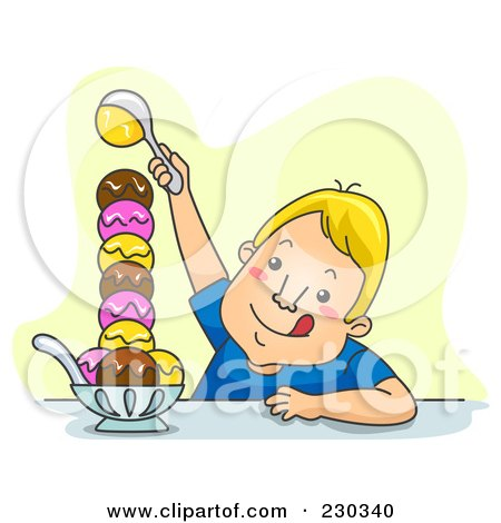 Royalty-Free (RF) Clipart Illustration of a Man Making A Huge Ice Cream Sundae On Yellow by BNP Design Studio