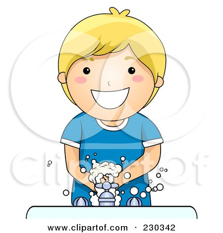 Royalty-Free (RF) Clipart Illustration of a Happy Blond Boy Washing His Hands by BNP Design Studio