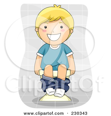 Royalty-Free (RF) Clipart Illustration of a Happy Blond Boy Using The Toilet by BNP Design Studio