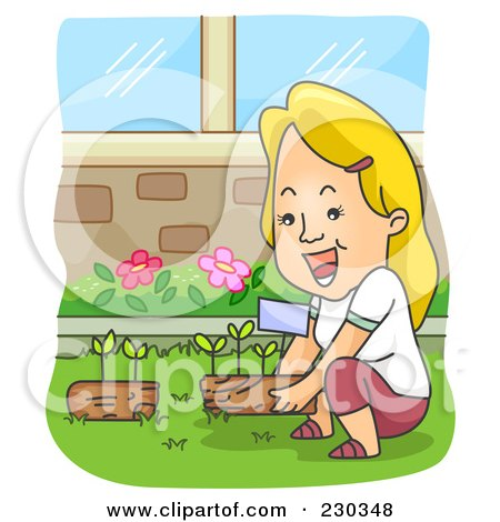 Royalty-Free (RF) Clipart Illustration of a Blond Woman Gardening by BNP Design Studio