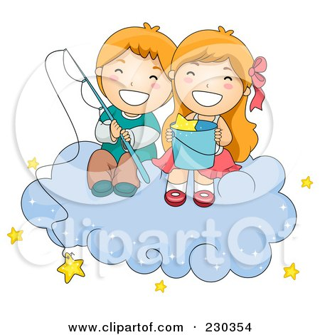 Royalty-Free (RF) Clipart Illustration of Children Fishing For Stars On A Cloud by BNP Design Studio