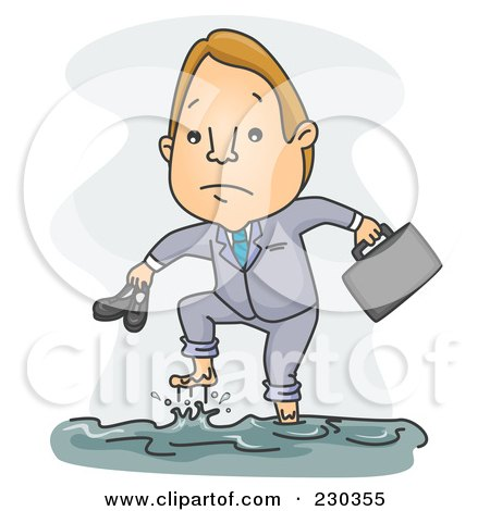 Royalty-Free (RF) Clipart Illustration of a Businessman Walking In A Flood On Gray by BNP Design Studio