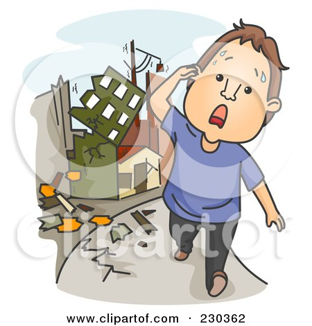 Royalty-Free (RF) Clipart Illustration of a Man Running During An Earthquake On Blue by BNP Design Studio