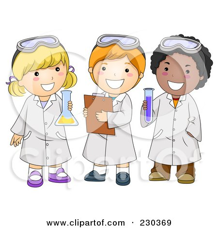 Royalty-Free (RF) Clipart Illustration of Diverse School Kids In Science Class by BNP Design Studio