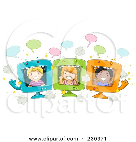 Royalty-Free (RF) Clipart Illustration of Diverse School Kids On Computer Screens by BNP Design Studio