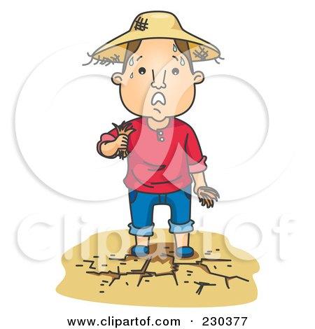 Royalty-Free (RF) Clipart Illustration of a Sweaty Farmer On Dry Land by BNP Design Studio