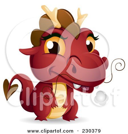 Cute Red Baby Dragon Posters, Art Prints