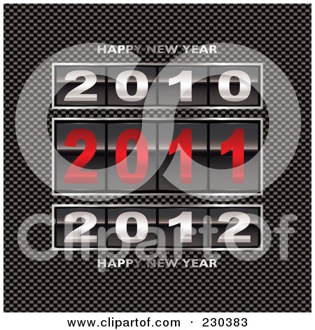 Royalty-Free (RF) Clipart Illustration of 2010, 2011 And 2012 Counters With Happy New Year Text On Carbon Fiber by michaeltravers