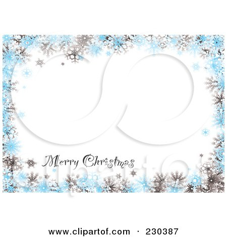 Royalty-Free (RF) Clipart Illustration of a Merry Christmas Greeting On A Gray And Blue Snowflake Background With White Space by michaeltravers