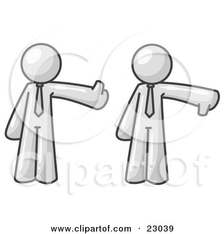 Clipart Illustration of a Blue Business Man Giving the Thumbs Up Then the Thumbs Down  by Leo Blanchette