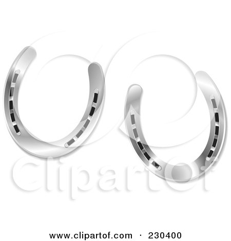 Royalty-Free (RF) Clipart Illustration of a Pair Of Shiny Silver Horseshoes by michaeltravers