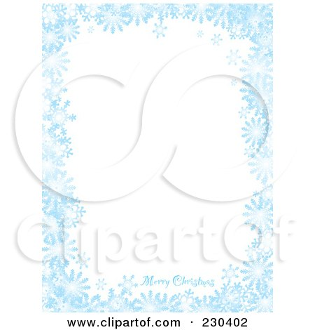 Royalty-Free (RF) Clipart Illustration of a Vertical Merry Christmas Greeting On A Blue Snowflake Background With White Space by michaeltravers