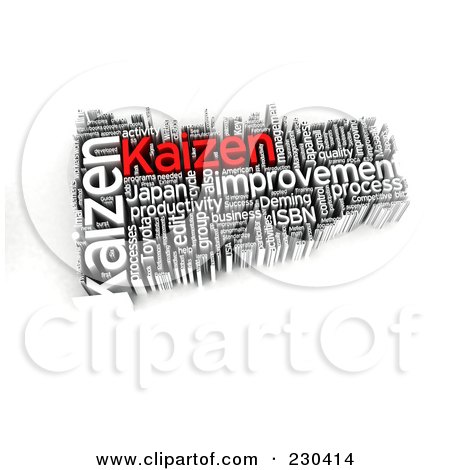 Royalty-Free (RF) Clipart Illustration of a 3d Kaizen Word Collage by MacX