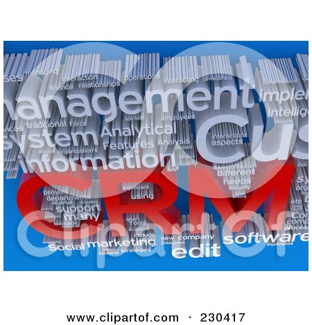 Royalty-Free (RF) Clipart Illustration of a 3d CRM Word Collage Over Blue by MacX