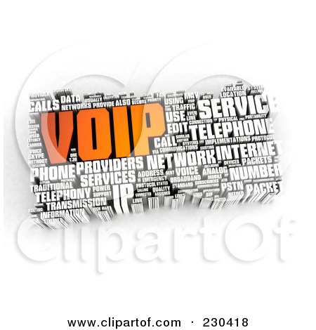 Royalty-Free (RF) Clipart Illustration of a 3d VOIP Word Collage by MacX