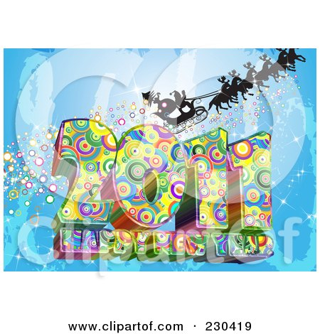 Happy new year 2011 to all gsm friends 230419-Royalty-Free-RF-Clipart-Illustration-Of-A-Silhouetted-Santa-And-Sleigh-With-Reindeer-Over-A-Funkky-2011-Happy-New-Year-Greeting-On-Blue