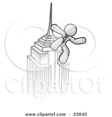 Clipart Illustration of a White Man Climbing to the Top of a Skyscraper Tower Like King Kong, Success, Achievement by Leo Blanchette