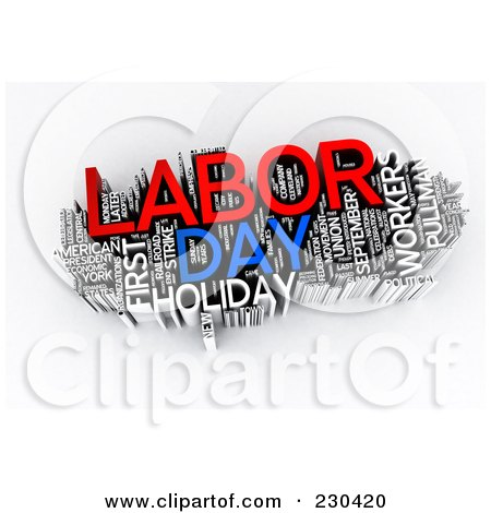 Royalty-Free (RF) Clipart Illustration of a 3d Labor Day Word Collage by MacX