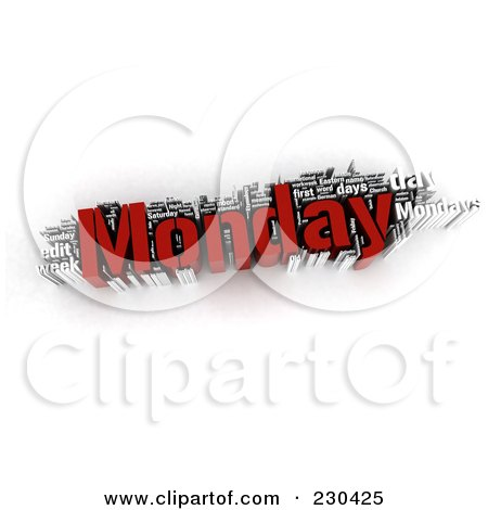 Royalty-Free (RF) Clipart Illustration of a 3d Monday Word Collage by MacX