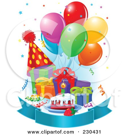 Royalty-Free (RF) Clipart Illustration of a Blank Banner With Birthday Balloons, Presents, Cake And A Party Hat With Blue Shading by Pushkin