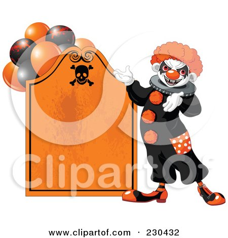 Royalty-Free (RF) Clipart Illustration of a Creepy Clown Presenting An Orange Tombstone Halloween Sign by Pushkin