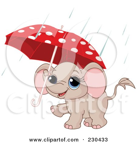 Royalty-Free (RF) Clipart Illustration of a Cute Baby Elephant Carrying A Polka Dot Umbrella In The Rain by Pushkin