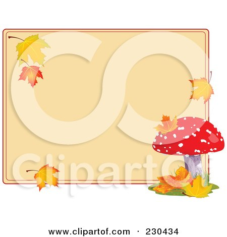 Royalty-Free (RF) Clipart Illustration of a Blank Tan Sign With Autumn Leaves And A Mushroom by Pushkin