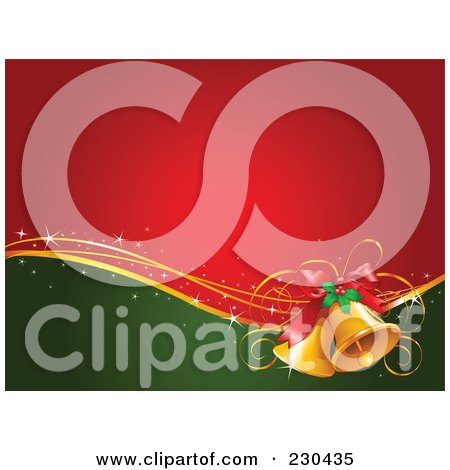 Royalty-Free (RF) Clipart Illustration of a Red And Green Christmas Background With Golden Bells And Holly by Pushkin