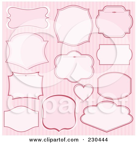 Royalty-Free (RF) Clipart Illustration of a Digital Collage Of Pink Label Designs Over Stripes by Pushkin