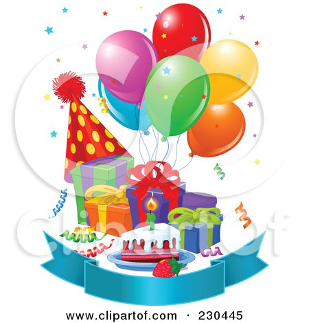 Royalty Free RF Clipart Illustration Of Party Balloons Presents Birthday Cake