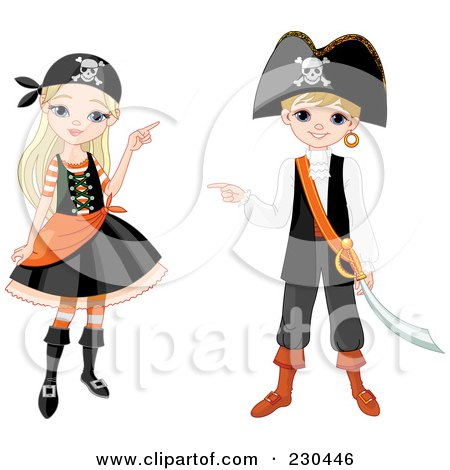 Royalty-Free (RF) Clipart Illustration of a Digital Collage Of A Halloween Girl And Boy In Pirate Costumes by Pushkin