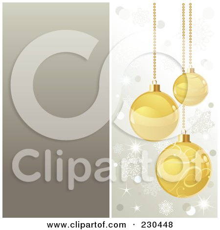 Royalty-Free (RF) Clipart Illustration of a Christmas Background Of Golden Baubles Over Silver by Pushkin