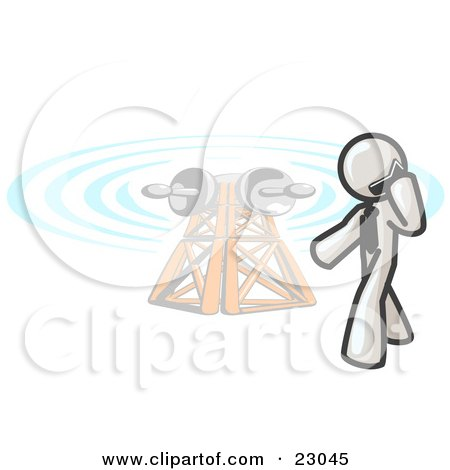 Clipart Illustration of a White Businessman Talking on a Cell Phone, a Communications Tower in the Background by Leo Blanchette