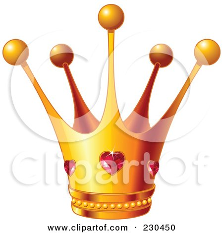 Royalty-Free (RF) Clipart Illustration of a Queen's Golden Crown With Ruby Hearts by Pushkin