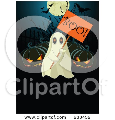 Royalty-Free (RF) Clipart Illustration of a Ghost Holding A Boo Sign By Jackolanterns by Pushkin