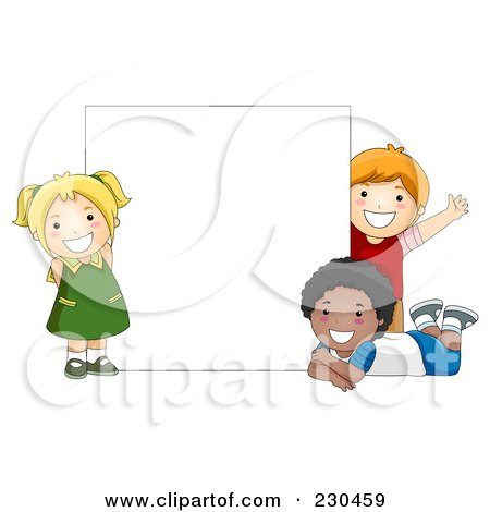 Royalty-Free (RF) Clipart Illustration of Diverse School Kids With A Blank Sign - 12 by BNP Design Studio