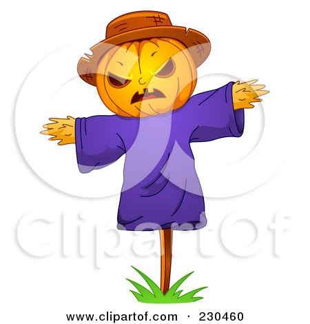 Royalty-Free (RF) Clipart Illustration of a Scarecrow With A Jackolantern Face by BNP Design Studio