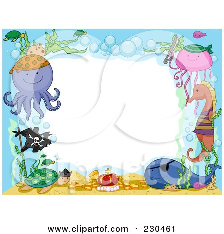 Royalty-Free (RF) Clipart Illustration of a Cute Animal Border Of Pirate Sea Life Around White Space by BNP Design Studio