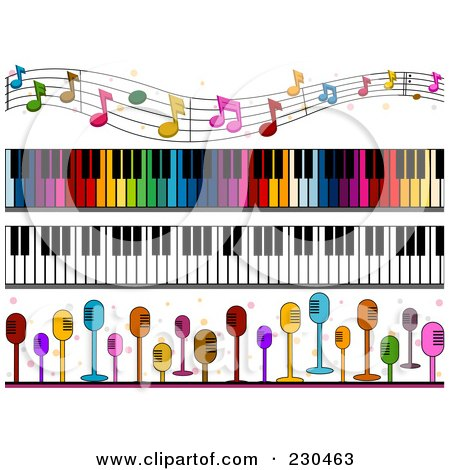 Royalty-Free (RF) Clipart Illustration of a Digital Collage Of Music Border Designs by BNP Design Studio