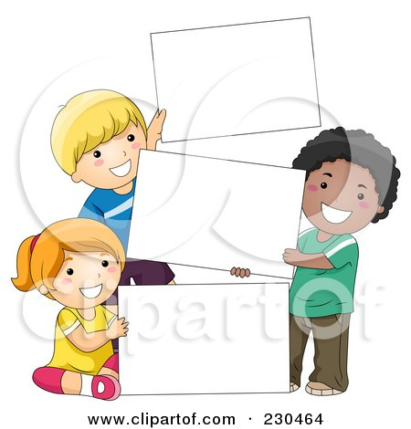 Royalty-Free (RF) Clipart Illustration of Diverse School Kids With A Blank Sign - 9 by BNP Design Studio