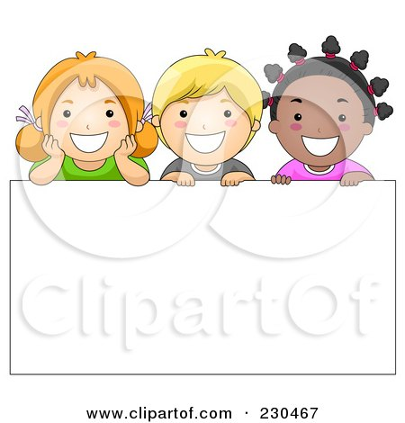 Royalty-Free (RF) Clipart Illustration of Diverse School Kids With A Blank Sign - 6 by BNP Design Studio