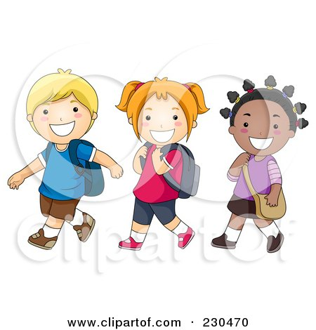 Royalty-Free (RF) Walking To School Clipart, Illustrations, Vector ...