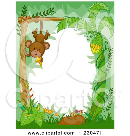 Royalty-Free (RF) Clipart Illustration of a Cute Animal Border Of A Hanging Monkey In The Jungle Around White Space by BNP Design Studio