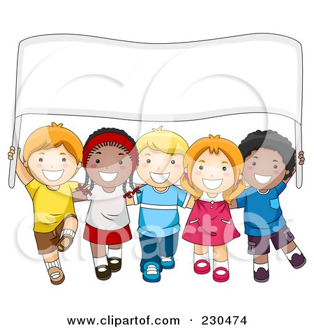Royalty-Free (RF) Clipart Illustration of Diverse School Kids With A Blank Sign - 1 by BNP Design Studio