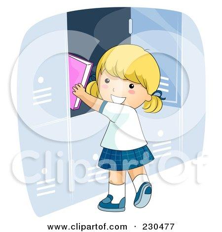 Happy School Girl Putting Books In Her Locker Posters, Art Prints