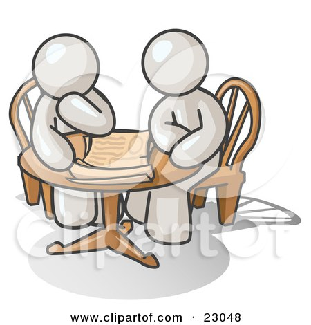 Clipart Illustration of Two White Businessmen Sitting at a Table, Discussing Papers by Leo Blanchette
