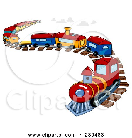 Royalty Free RF Clipart Illustration Of A Toy Train On A Curving Track