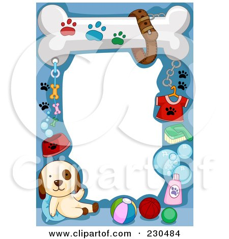 Royalty-Free (RF) Clipart Illustration of a Cute Animal Border Of A Puppy And Dog Supplies On Blue Around White Space by BNP Design Studio