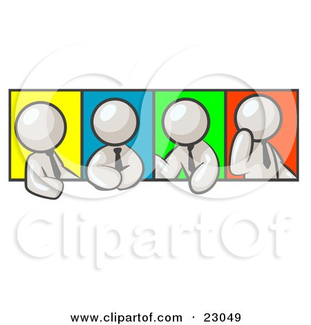 Clipart Illustration of Four White Men In Different Poses Against Colorful Backgrounds, Perhaps During A Meeting by Leo Blanchette